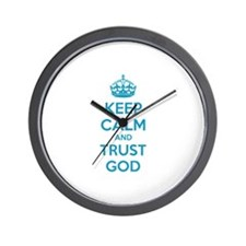 Keep calm and trust god Wall Clock