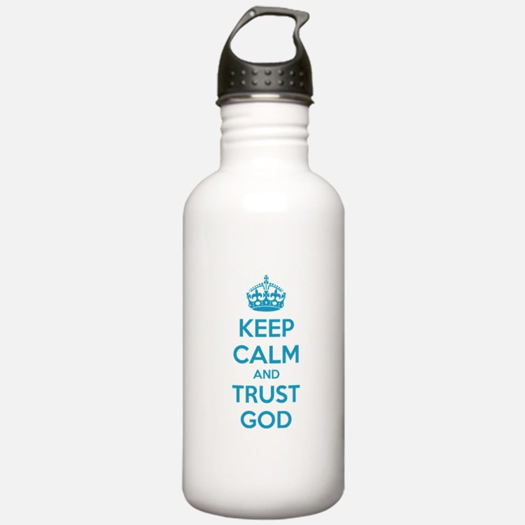 Keep calm and trust god Water Bottle