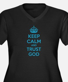 Keep calm and trust god Women's Plus Size V-Neck D
