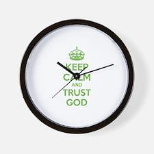 Keep calm and trust god Wall Clock