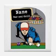 Personalized Mens Billiards Tile Coaster