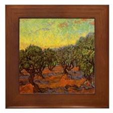 Van Gogh Olive Grove: Orange Sky Framed Tile