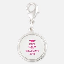 Keep calm and graduate 2016 Silver Round Charm