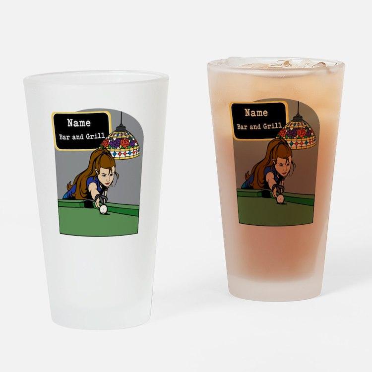 Personalized Womens Billiards Drinking Glass