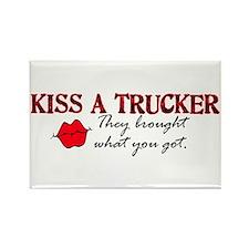 Kiss a Trucker Rectangle Magnet