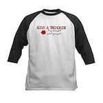 Kiss a Trucker Kids Baseball Jersey