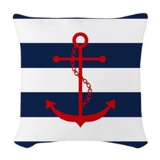Red Anchor on Blue Stripes Woven Throw Pillow