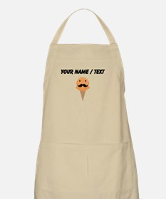 Custom Orange Waffle Cone Mustache Face Apron