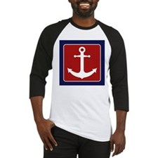 Nautical Anchor - Red White and Blue Baseball Jers