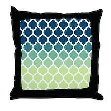Blue Green Moroccan Lattice Throw Pillow