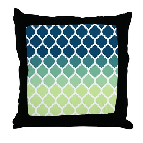 Blue Lattice Throw Pillow : Blue Green Moroccan Lattice Throw Pillow by doodles_design