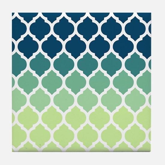 Blue Green Moroccan Lattice Tile Coaster