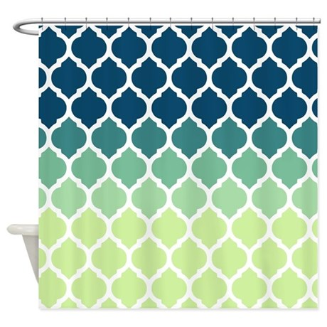 Blue Green Moroccan Lattice Shower Curtain