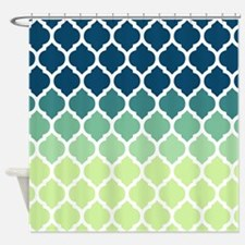 Blue Green Moroccan Lattice Shower Curtain