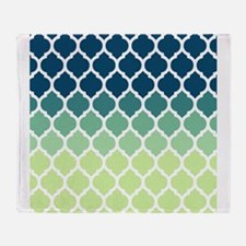 Blue Green Moroccan Lattice Throw Blanket