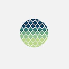 Blue Green Moroccan Lattice Mini Button