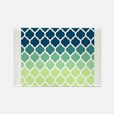 Blue Green Moroccan Lattice Rectangle Magnet