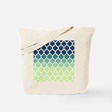 Blue Green Moroccan Lattice Tote Bag
