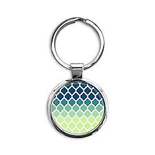 Blue Green Moroccan Lattice Keychains
