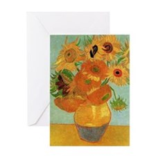 Vase with 12 Sunflowers by Vincent v Greeting Card