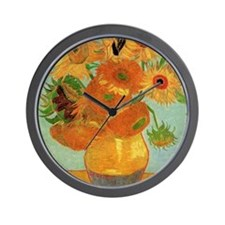 Vase with 12 Sunflowers by Vincent van Wall Clock