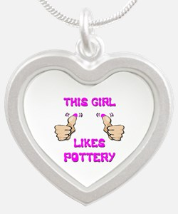 This Girl Likes Pottery Silver Heart Necklace