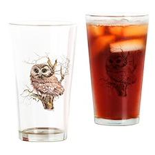 Cute Baby Saw Whet Owl Watercolor Bird Drinking Gl