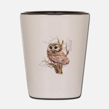 Cute Baby Saw Whet Owl Watercolor Bird Shot Glass