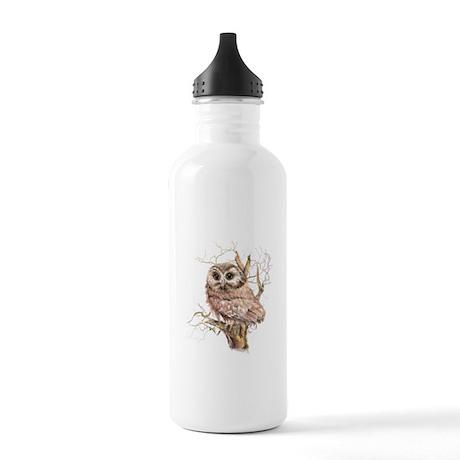 Cute Baby Saw Whet Owl Watercolor Bird Water Bottl