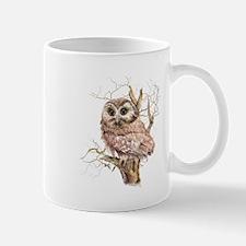 Cute Baby Saw Whet Owl Watercolor Bird Small Mugs