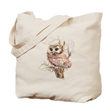 Cute Baby Saw Whet Owl Watercolor Bird Tote Bag
