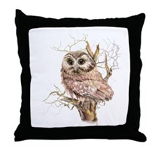 Cute Baby Saw Whet Owl Watercolor Bird Throw Pillo