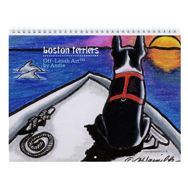 Art Calendar Boston : Boston terriers off leash art wall calendar by ahamiltonart