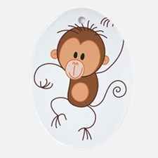 Stickfigure Monkey Oval Ornament