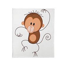 Stickfigure Monkey Throw Blanket