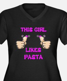 This Girl Likes Pasta Women's Plus Size V-Neck Dar