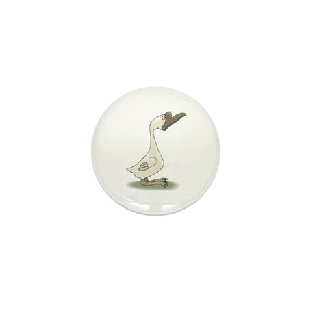 Silly White Goose Mini Button