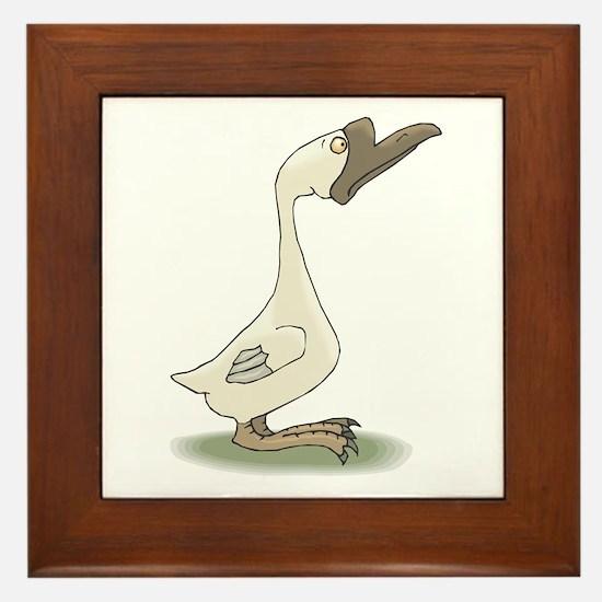 Silly White Goose Framed Tile