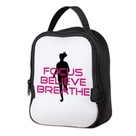 Pink Focus Believe Breathe Neoprene Lunch Bag