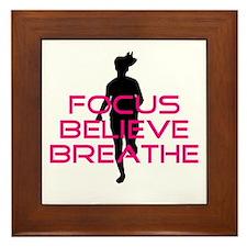 Pink Focus Believe Breathe Framed Tile