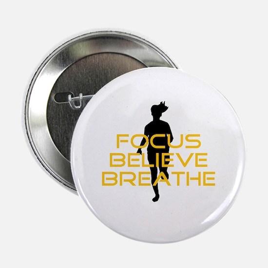 "Yellow Focus Believe Breathe 2.25"" Button"
