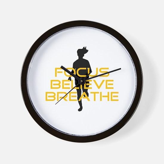 Yellow Focus Believe Breathe Wall Clock