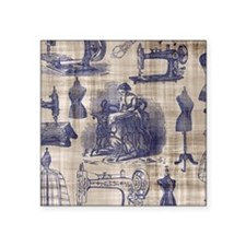 "Vintage Sewing Toile Square Sticker 3"" x 3"""