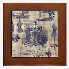 Vintage Sewing Toile Framed Tile