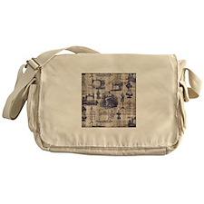 Vintage Sewing Toile Messenger Bag