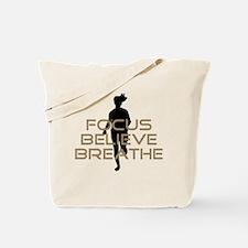Tan Focus Believe Breathe Tote Bag
