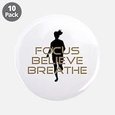 "Tan Focus Believe Breathe 3.5"" Button (10 pack)"
