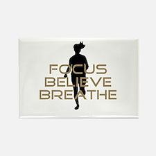 Tan Focus Believe Breathe Rectangle Magnet