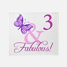 Fabulous 3rd Birthday For Girls Throw Blanket