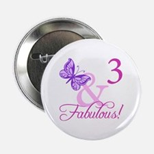 """Fabulous 3rd Birthday For Girls 2.25"""" Button"""